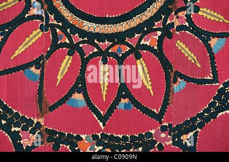 Antique Suzani. Silk embroidered textile from Uzbekistan - Stock Photo