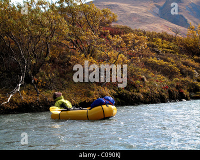 Woman packrafts down the Sanctuary River in Denali National Park, Interior Alaska, Autumn - Stock Photo