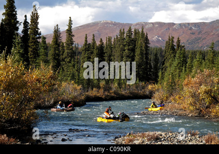 packrafts down the Sanctuary River in Denali National Park, Interior Alaska, Autumn - Stock Photo