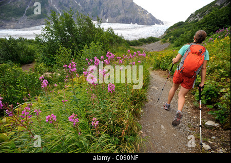 Woman hiking on the trail to Exit Glacier in the Harding Icefield, Kenai Fjords National Park, Kenai Peninsula, - Stock Photo