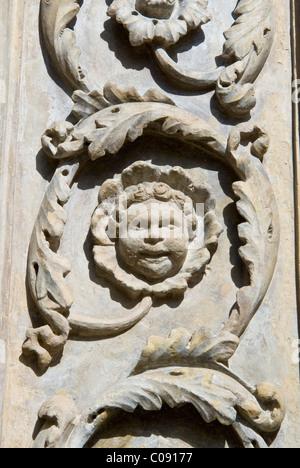 Alto-rilievo (high-relief),Main door of Building of Fraternita dei Laici, Piazza Vasari or Piazza Grande, Arezzo, - Stock Photo