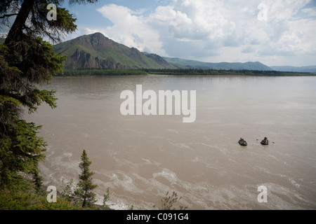Families float down Yukon River in Yukon-Charley Rivers National Preserve  Interior Alaska, Summer - Stock Photo