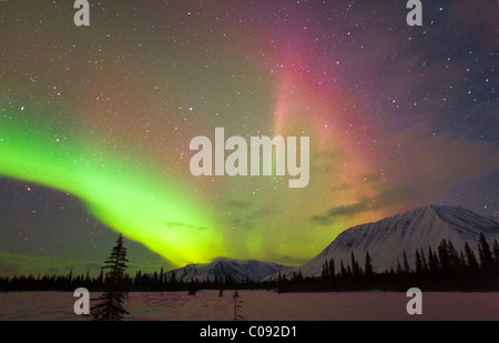View of Northern Lights over the foothills of the Alaska Range, Broad Pass, Southcentral Alaska, Winter - Stock Photo
