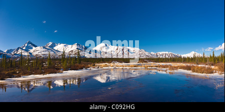 View of a small streamalong the Denali Highway with the Alaska Range foothills in the background, near Cantwell, - Stock Photo