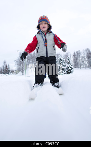 Preschool boy cross country skiing in Russian Jack Springs Park, Anchorage, Southcentral Alaska, Winter - Stock Photo