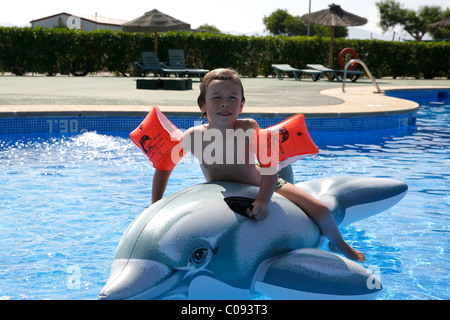 Five-year old boy in the pool, camping site, Cabo de Gata, Andalusia, southern Spain, Europe - Stock Photo