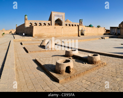 Muhammad Rakhim Chan Madrassah, Ichan Kala, historic adobe town of Khiva, Chiva, Silk Road, Unesco World Heritage - Stock Photo