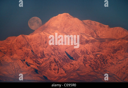 The full moon sets behind Mt. McKinley lit by alpenglow at sunset, near Talkeetna, Southcentral Alaska - Stock Photo