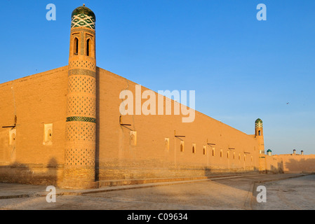 Muhammad Rakhim Chan Madrassah, Ichan Kala, historic adobe town of Khiva, Chiva, Silk Road, Unesco World Heritage - Stock Photo