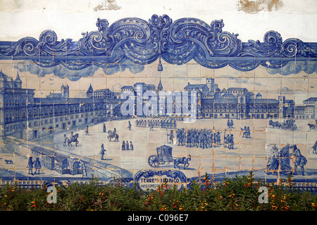 Lisbon before the 1755 earthquake, mural at the Church of Santa Luzia in the typical Azulejos blue glazed tiles - Stock Photo