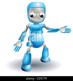 A cute blue robot character showing the viewer something with a hand gesture - Stock Photo