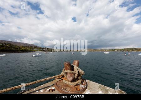 Bollard with rope, harbor in Skull, Schull, Mizen Head Peninsula, West Cork, Republic of Ireland, British Isles, - Stock Photo