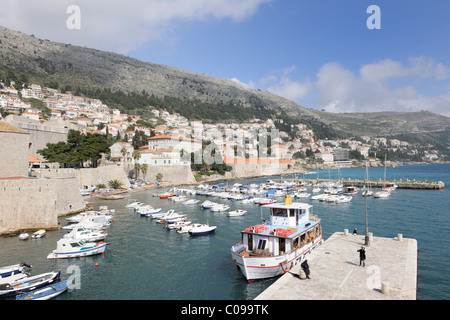 View from the ramparts on the old harbor, Dubrovnik, Ragusa, Croatia, Europe - Stock Photo