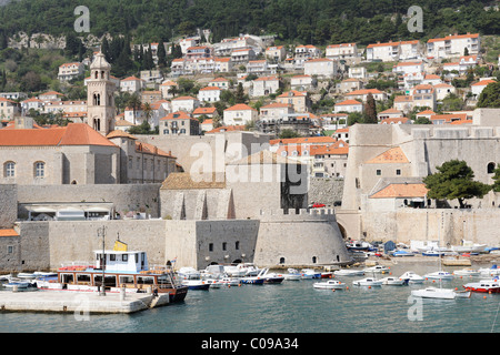 View from the ramparts on the old harbour, Dubrovnik, Ragusa, Croatia, Europe - Stock Photo