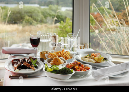 Dinner with lamb chops and red wine, Josie's Lakeview House, Beara Peninsula, County Kerry, Ireland, British Isles, - Stock Photo