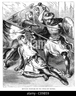 Vintage engraving showing knight templars fighting during the crusades - Stock Photo