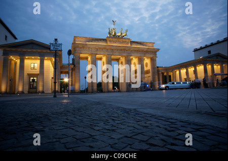 Brandenburg Gate at dusk, Berlin, Germany, Europe - Stock Photo