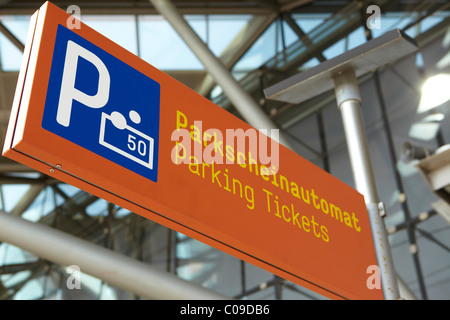 Sign Parkscheinautomat, parking meter, pay and display machine - Stock Photo
