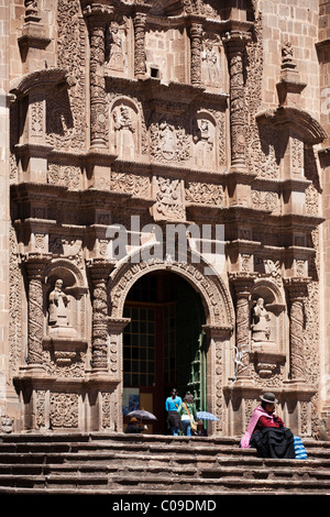 The front steps and facade of the cathedral in Puno Peru - Stock Photo