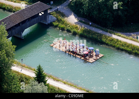 Aerial view, rafting on the Isar river, here in the channel north of the Icking weir, Bavaria, Germany, Europe - Stock Photo