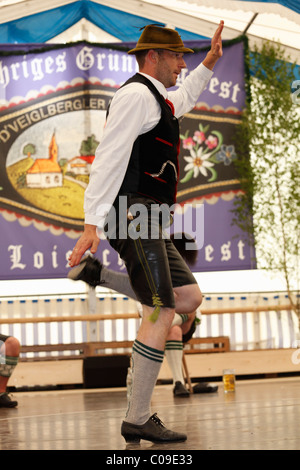 Schuhplattler, traditional folk dancer, 83rd Loisachgaufest in Neufahrn near Egling, Upper Bavaria, Bavaria, Germany, - Stock Photo
