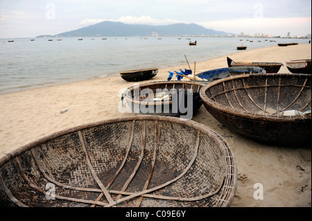 Round boats typical to the region on the beach of Danang, Central Vietnam, Vietnam, Southeast Asia, Asia - Stock Photo