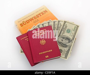 USA Travel Guide, Southwest, passport of the Federal Republic of Germany, several 100-dollar bills - Stock Photo