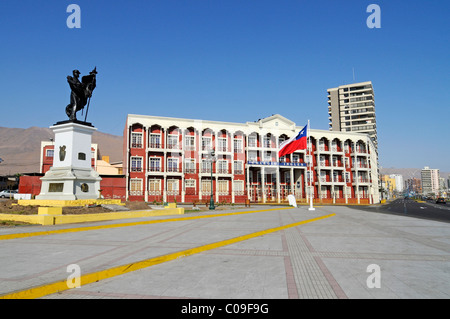 Monument to national war hero Captain Arturo Prat Chacon, English school, Chilean Flag, square, Iquique, Norte Grande - Stock Photo