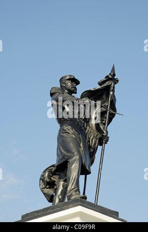 Monument to national war hero Captain Arturo Prat Chacon, Iquique, Norte Grande region, Northern Chile, Chile, South - Stock Photo