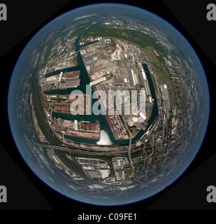 Aerial view, 360 degree panorama, Envio, iron port, Schachtzeichen RUHR.2010 art installation, Dortmund, Ruhrgebiet - Stock Photo