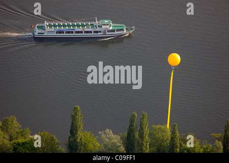 Aerial view, pleasure steamer Carl Funke 2, White Fleet, Baldeneysee lake, Schachtzeichen RUHR.2010 art installation, - Stock Photo