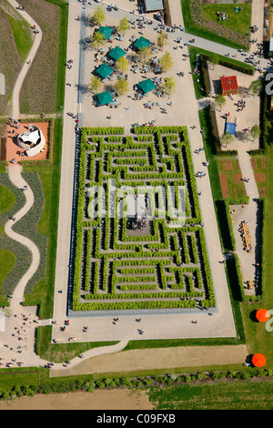 Aerial view, labyrinth, hedge maze, Landesgartenschau Country Garden Exhibition Hemer, Maerkischer Kreis district - Stock Photo