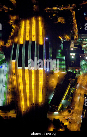 Aerial view, night, central station, Oberhausen, Ruhrgebiet region, North Rhine-Westphalia, Germany, Europe - Stock Photo