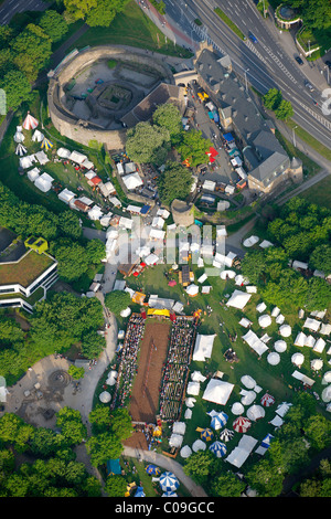 Aerial view, historical market with tournaments in the park of Schloss Broich castle, Muelheim an der Ruhr, Ruhrgebiet - Stock Photo
