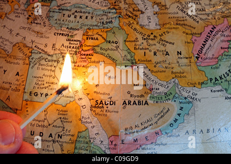 Political map of middle east region on globe stock photo 88176661 middle east map with a lit match symbolizing the regions unrest with respect to social gumiabroncs