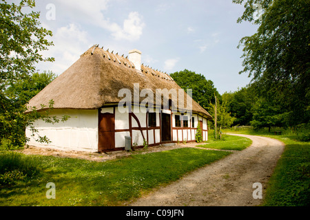 Idyllic old half-timbered house, the Funen Village open air museum, Odense, Denmark, Europe - Stock Photo
