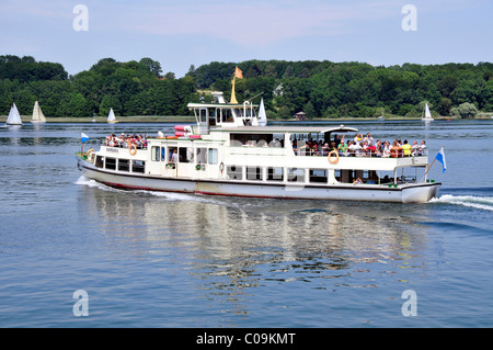 Charter ship, Barbara, from the Chiemsee Shipping Company on Fraueninsel, Women's Island, Lake Chiemsee, Chiemgau, - Stock Photo