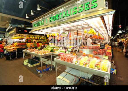 Fruits, vegetables, market halls, Mercat de la Boqueria, Barcelona, Las Ramblas, Catalunya, Spain, Europe - Stock Photo