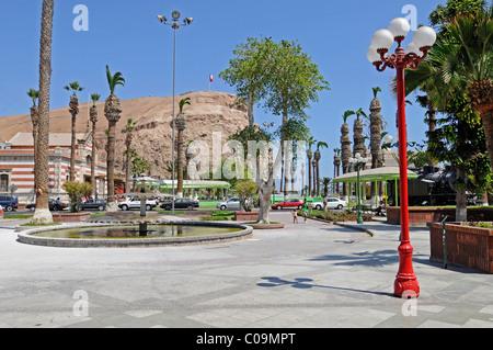 City view, Plaza Colon square, El Morro, mountains, landmark, Arica, Norte Grande, northern Chile, Chile, South - Stock Photo