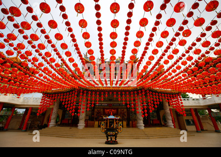 Red lanterns, Chinese Thean Hou Temple, Kuala Lumpur, Malaysia, Asia - Stock Photo