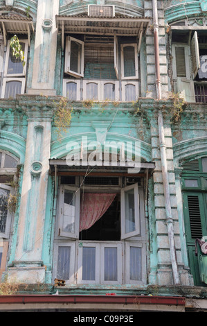 Colonial house facade in the old town, Yangon, Rangoon, Myanmar, Burma, Southeast Asia - Stock Photo