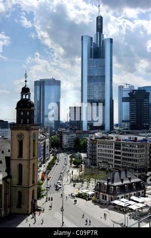 Katharinenkirche church, Hauptwache guard house, Eurotower, Commerzbank headquarters, Frankfurt am Main, Hesse, - Stock Photo