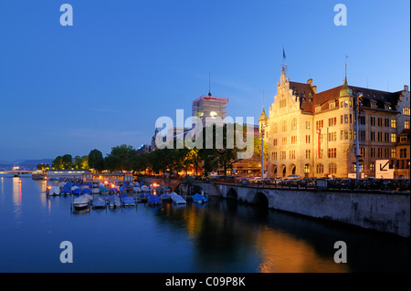 Town hall with river Limmat at night, Zurich, Switzerland, Europe - Stock Photo