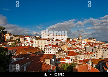 View from Miradouro Santa Luzia on the church Igreja Sao Vicente de Fora, Alfama district, Lisbon, Portugal, Europe - Stock Photo