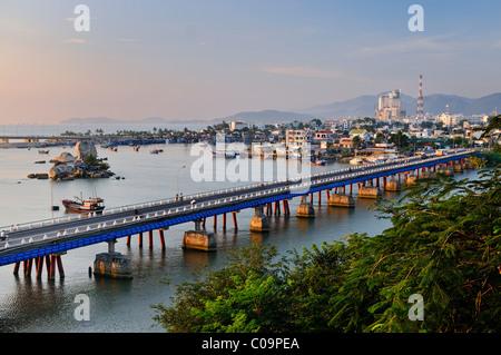 View of Nha Trang, Xom-Bong Bridge, Vietnam, Southeast Asia - Stock Photo