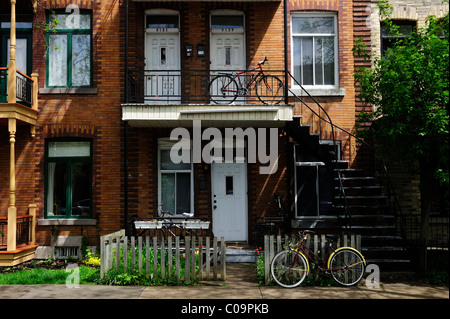 Typical houses with staircases to the first floor in Montreal, Quebec, Canada - Stock Photo