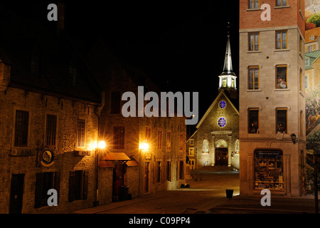 Place Royal square and the Eglise Notre-Dame-des-Victoires church in the historic old town of Quebec City, Quebec, - Stock Photo
