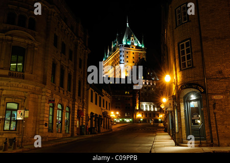 Street to the Chateau Frontenac castle in the historic old town of Quebec City, Quebec, Canada - Stock Photo
