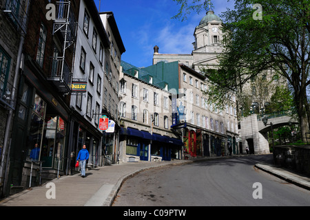 In the streets of the historic town centre of Quebec City, Quebec, Canada - Stock Photo