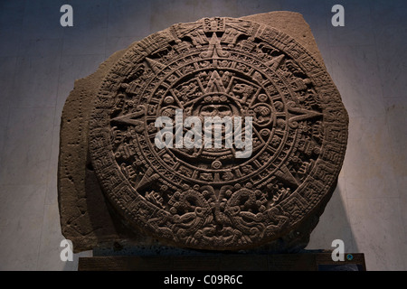 Mexica Sun Stone, Stone of the Fifth Sun, or Aztec calendar in the National Museum of Anthropology in Mexico City. - Stock Photo